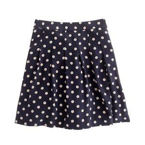 J.Crew Navy Silk Polka Dot Pleated Crepe Skirt!